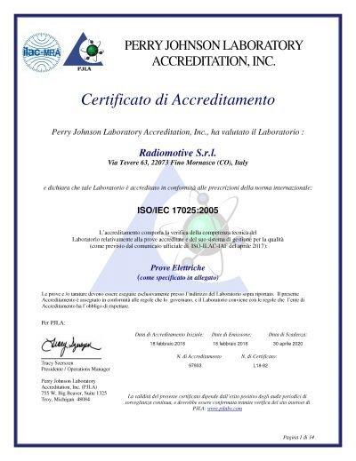 Certificato di Accreditamento Radiomotive Srl